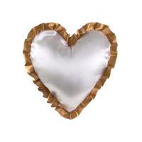 Белая наволочка для сублимации в форме сердца с золотыми рюшами