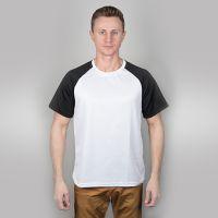 Футболка мужская, белая, сэндвич, хлопок и ПЭ, реглан, черный рукав, 50, XL