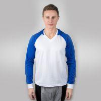 Футболка мужская с синими дл рукавами и капюшоном — 46 (М)