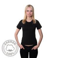 Футболка женская, классическая, черная, хлопок 100%, 50, XL