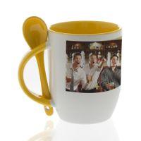 Кружка для сублимации керамика белая, внутри, ручка и ложка желтые 330мл