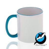 Кружка керамика белая, ободок и ручка голубая повышенное качество 330мл