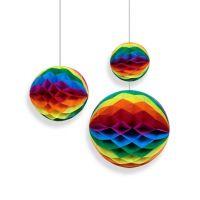 Набор помпонов в виде круга разноцветный 3 штуки (h20, h15, h10см)