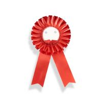 Розетка наградная для значков D56 мм с двумя лентами красная