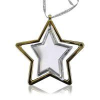 Звезда-подвеска прозрачная с золотой окантовкой под вставку D90мм (D вставки 59мм)